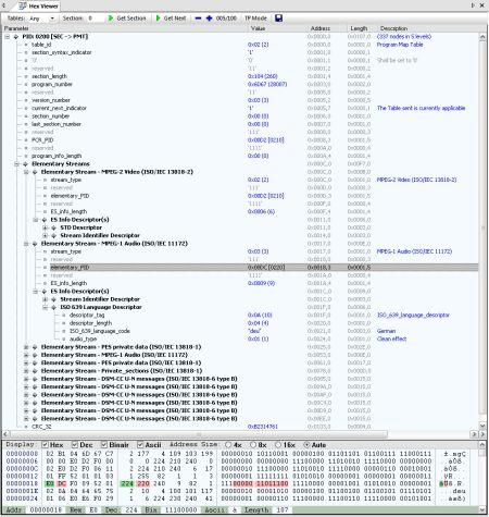 DVBAnalyzer: Hex Viewer - Section